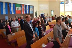 Congregants at the service