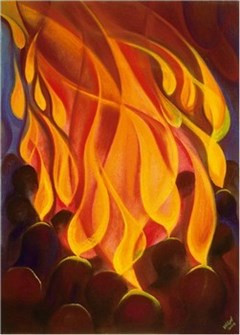 modern painting depicting Pentecost